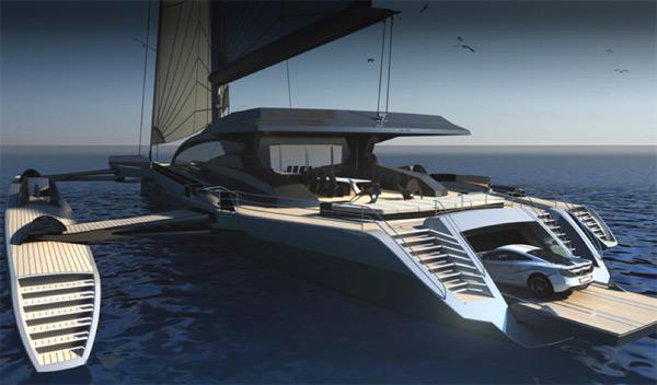 Un barco diseñado por McLaren con garaje para un MP4-12C