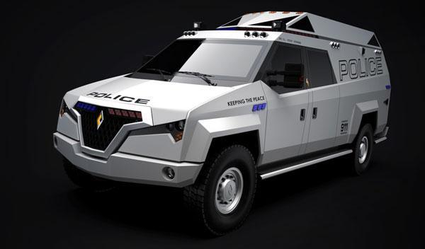 Carbon Motors TX7 estatica frontal dibujo 3d