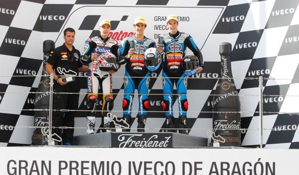 El podio de Moto3 en el Gran Premio de Aragón.