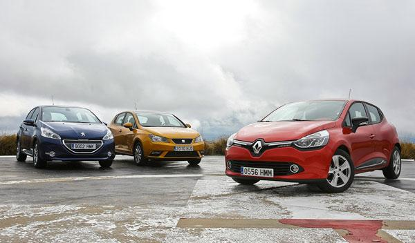 Renault Clio Seat Ibiza Peugeot 208 frontal estática