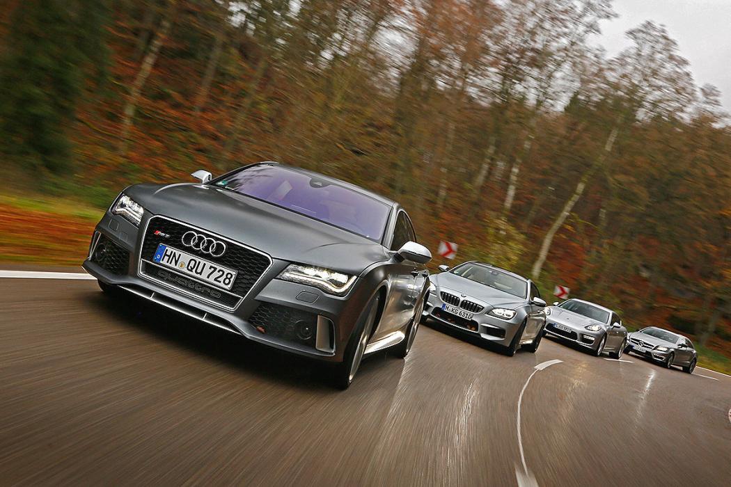 Porsche Panamera, Audi RS 7, Mercedes CLS 63 AMG S, BMW M6 Gran Coupé