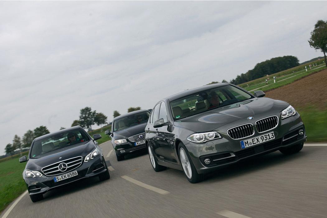 BMW 518d vs Mercedes E 200 CDI y Volvo S80 D4