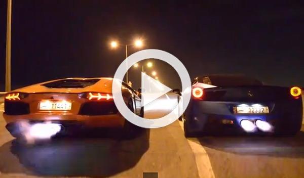 Batalla de llamas entre un Lambo Aventador y un Ferrari 458