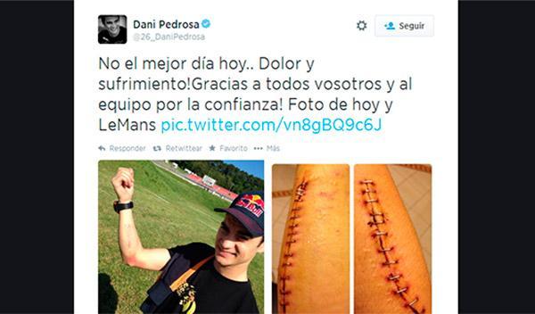 El antebrazo de Dani Pedrosa sufrió en Mugello