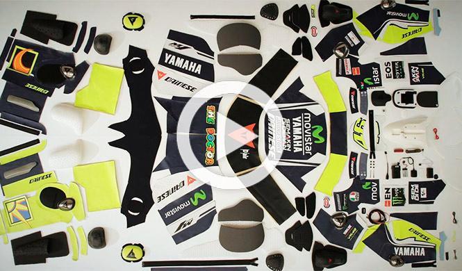 Así es el mono de Valentino Rossi, a piezas