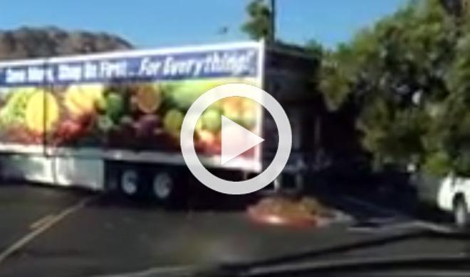 Esta camionera tumba un árbol al dar marcha atrás