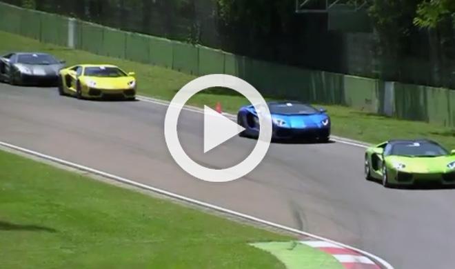 Vídeo: un grupo de Lamborghini Aventador en Imola