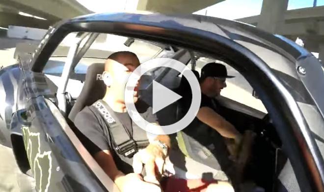 Esta es la cara de Chris Harris como copiloto con Ken Block