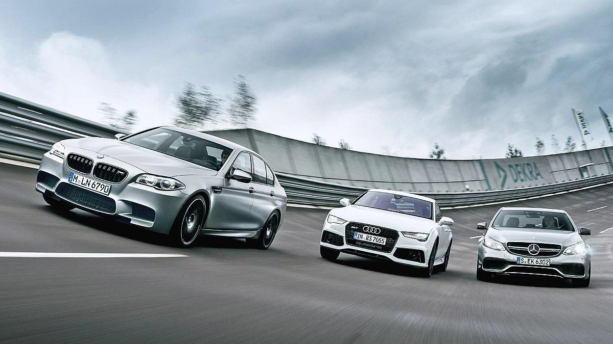 BMW M5, Mercedes E 63 AM y Audi RS7 Sportback en circuito