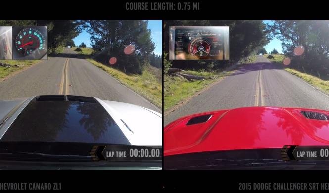 Espectacular: Challenger SRT Hellcat contra Camaro ZL1