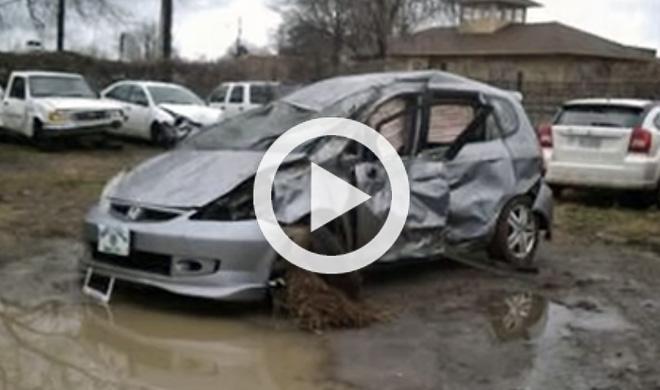 Vídeo: da siete vueltas de campana con su Honda Jazz