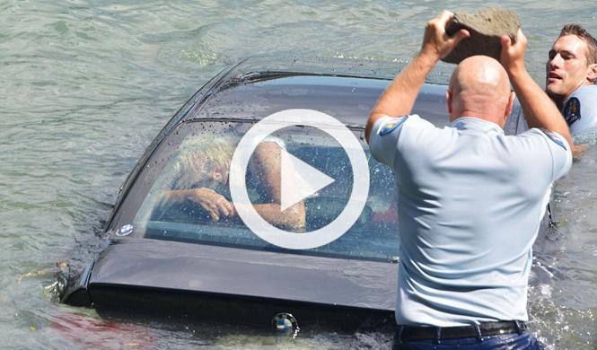 Vídeo: espectacular rescate a una mujer en un BMW M3