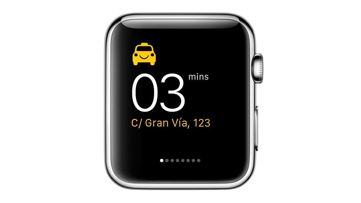 App Hailo para pedir taxi desde smartwatch - minutos