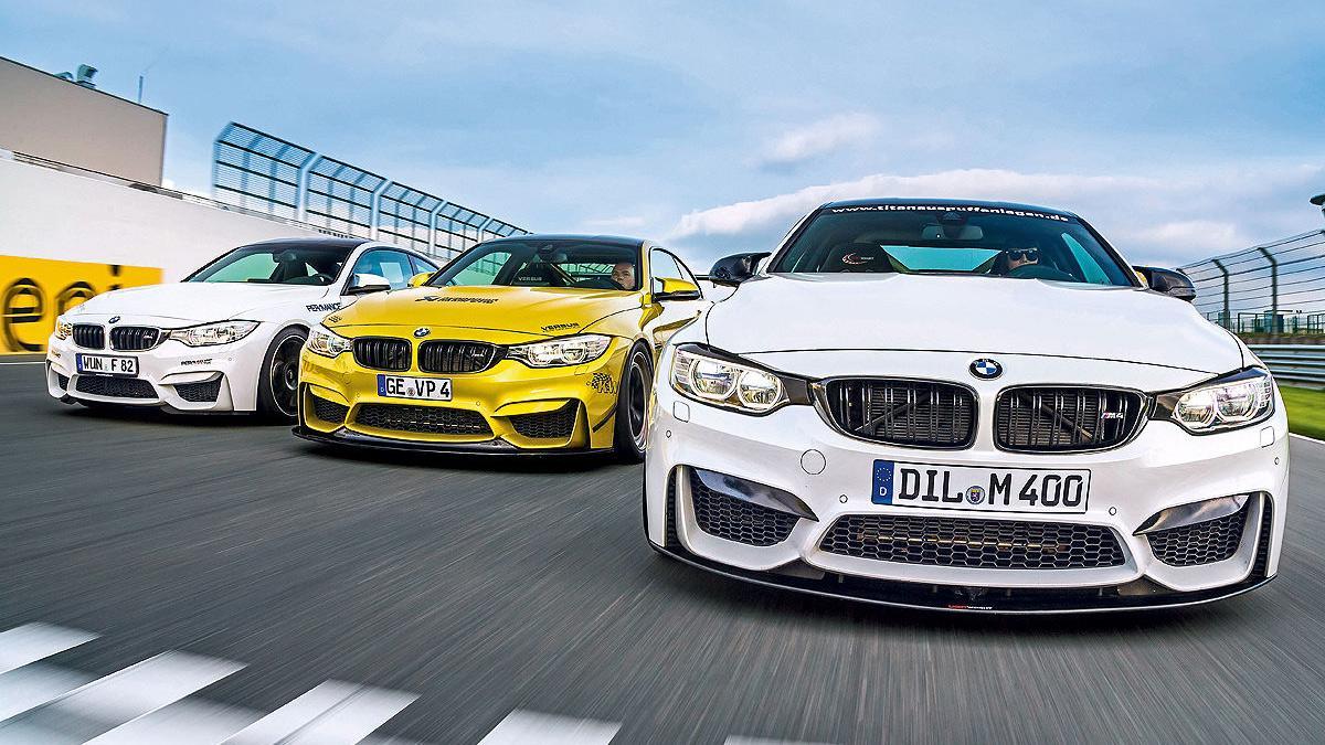 Tres BMW M4 radicales