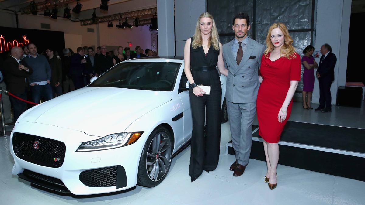 Fiesta en NY para Jaguar XF-Jodie Kidd, David Gandy y Christina Hendricks