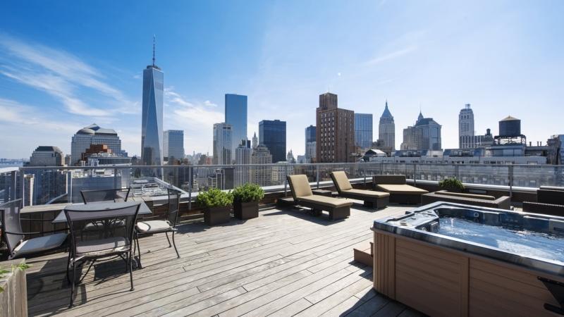 Terraza del piso más caro del mundo en Nueva York