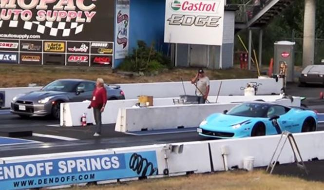 'Drag Race': Ferrari 458 vs Nissan GT-R