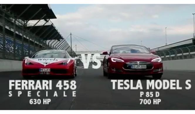 'Drag race': Ferrari 458 Speciale vs Tesla Model S P85D