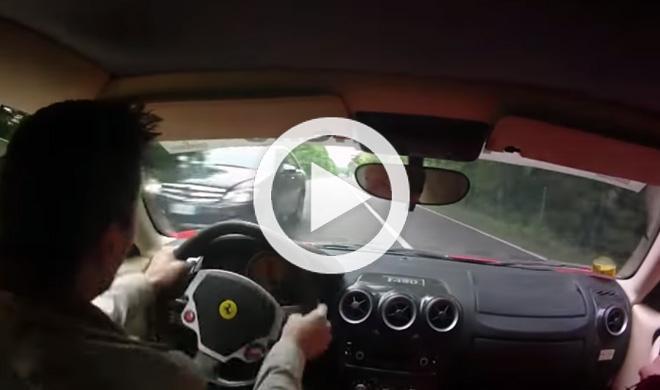 Casi se estrella con un Ferrari F430