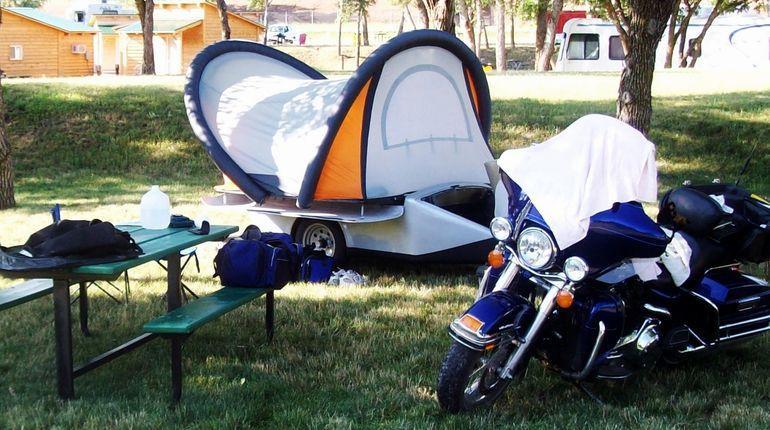 Carro-tienda automático para moto, vacaciones a lo grande