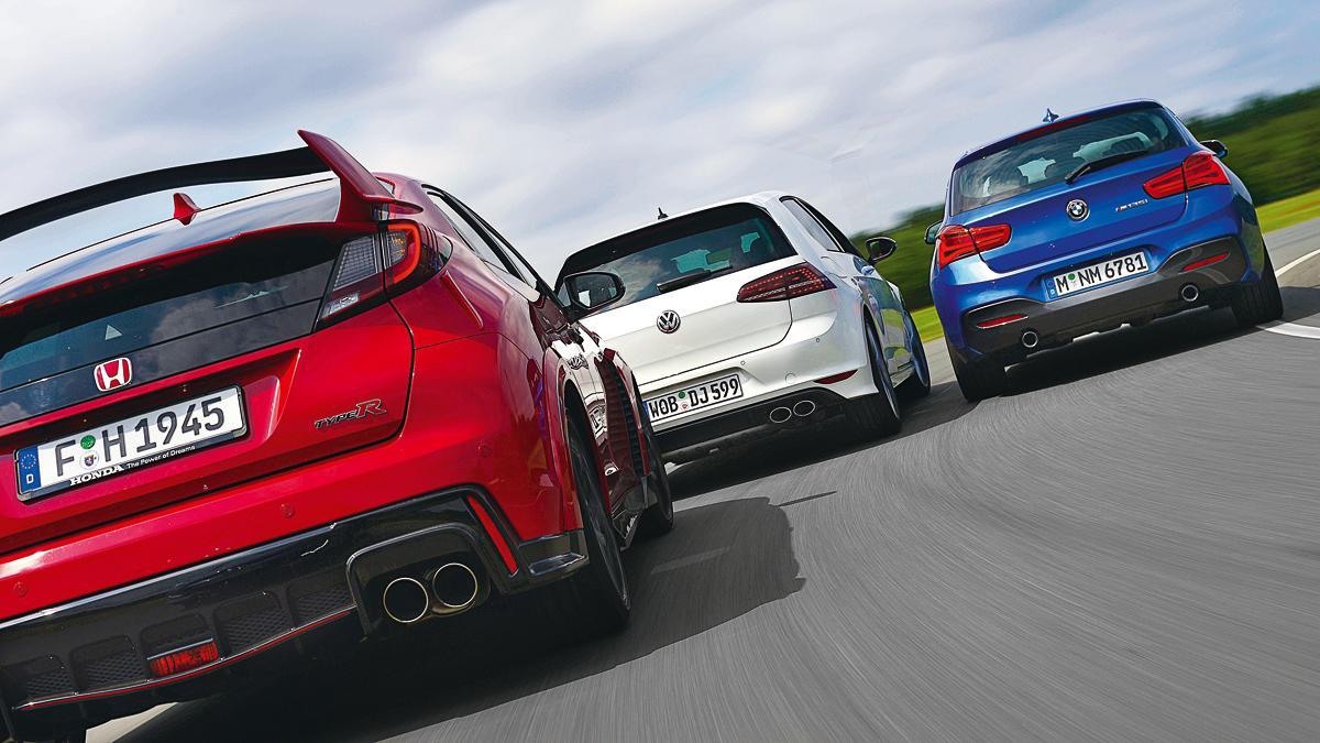 Comparativa BMW M135i/Honda Civic Type R/Volkswagen Golf R