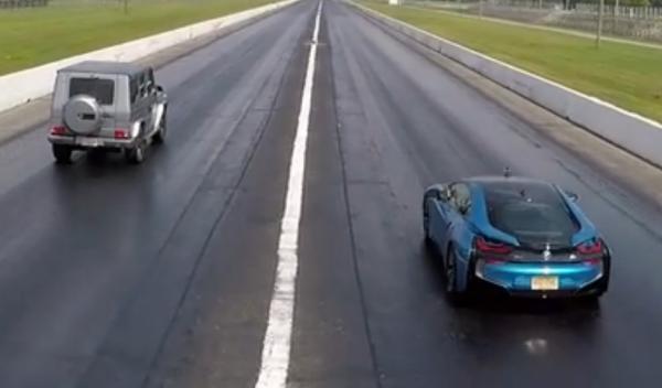 Drag Race: Mercedes G63 contra BMW i8