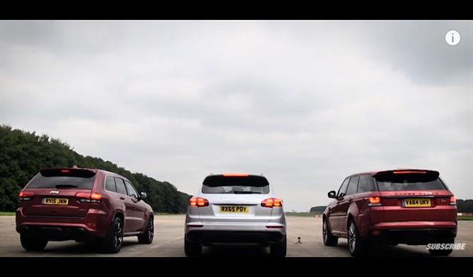 Drag race: Cayenne Turbo S, Range Rover SVR, y Cherokee SRT