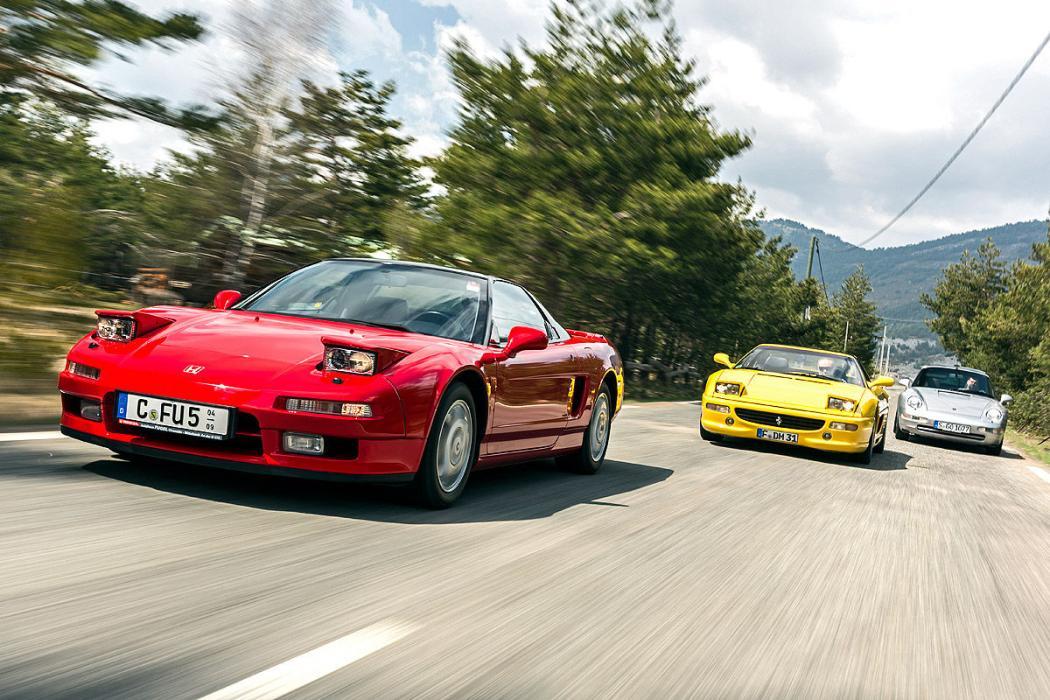 Porsche 911, Honda NSX y Ferrari F355. 3 sueños de los 90