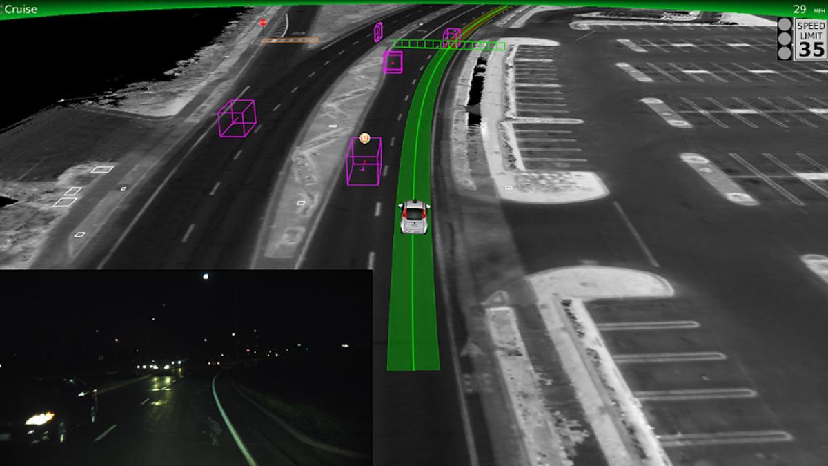 Así ve el coche autónomo de Google recta