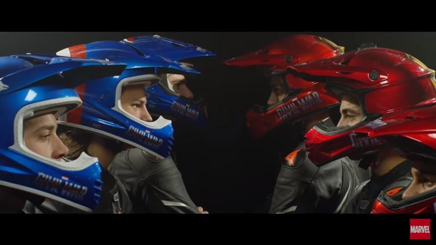 Capitán América vs Iron Man versión VR46 Riders Academy
