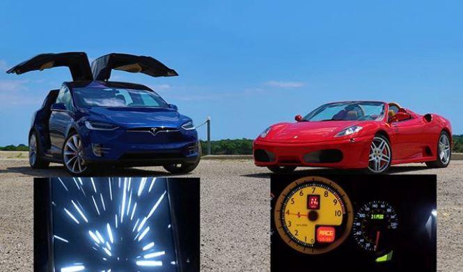 Vídeo: Tesla Model X vs Ferrari F430