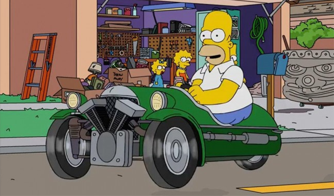Jay Leno le compra un Morgan 3 Wheeler a Hommer Simpson