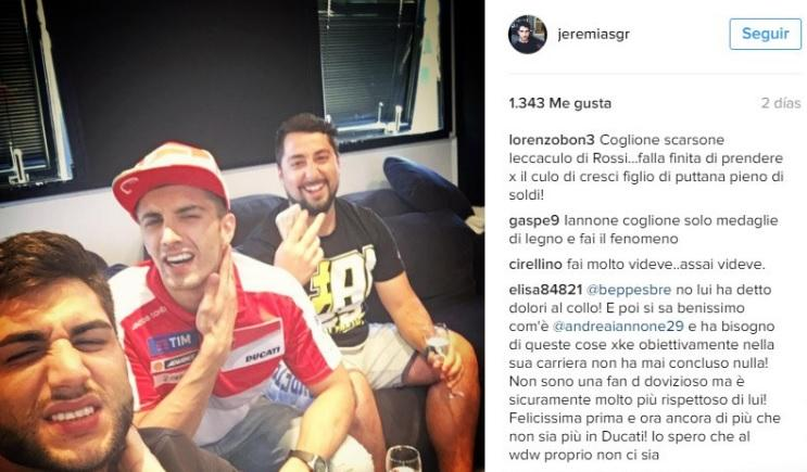 Andrea Iannone se burla de Andrea Dovizioso en Instagram