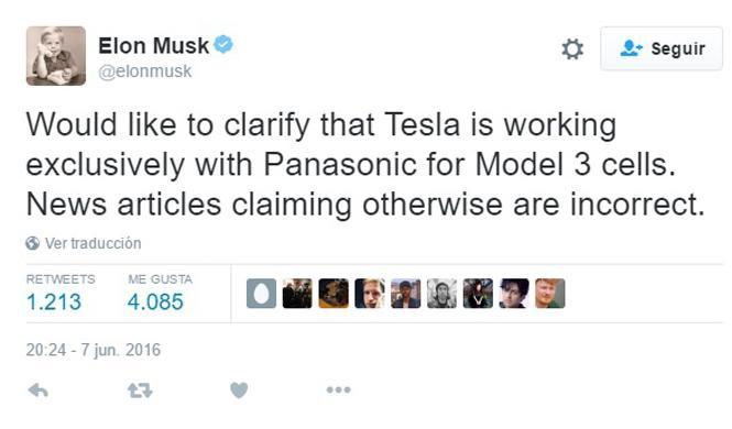 Musk niega que Samsung vaya a hacer baterías para Tesla