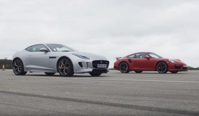 Drag Race: Jaguar F-Type R vs Porsche 911 Turbo S