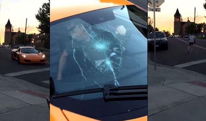 Vídeo: skater rompe el parabrisas de un McLaren en marcha