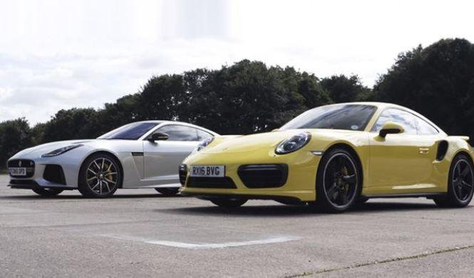 Drag Race: Porsche 911 Turbo vs Jaguar F-Type SVR