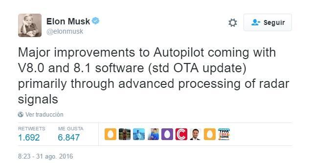 Musk confirma que el Autopilot se actualizará en breve
