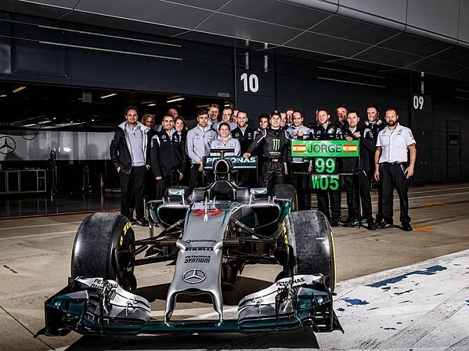 Jorge Lorenzo, más rápido que Rosberg con el Mercedes W05