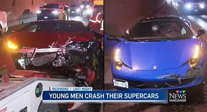 Un Lamborghini Huracán choca contra un Ferrari 458 Italia