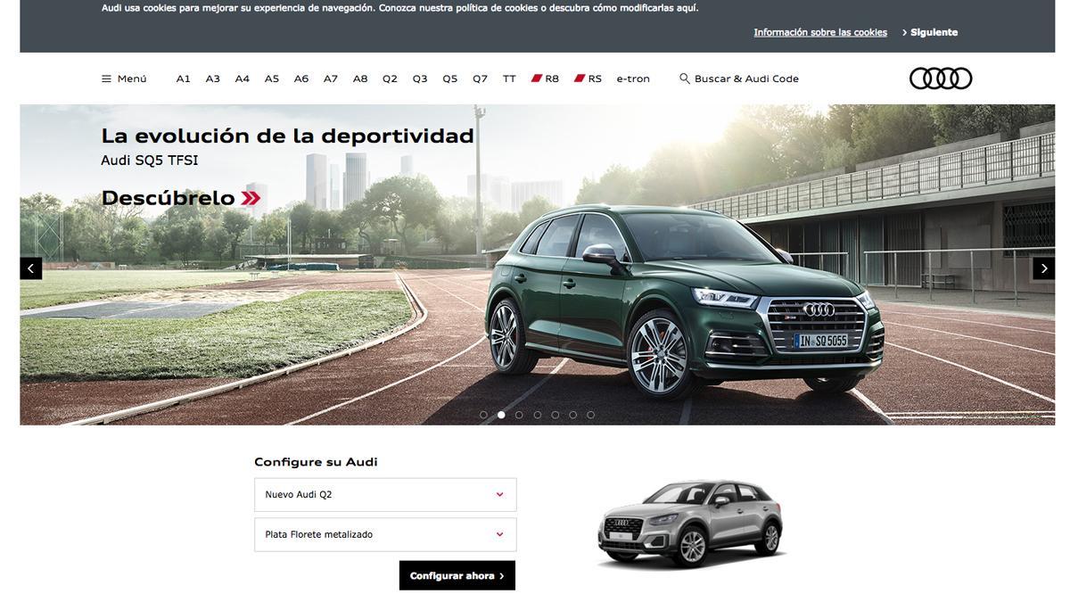 Entra en www.audi.es, donde está el configurador de Audi.