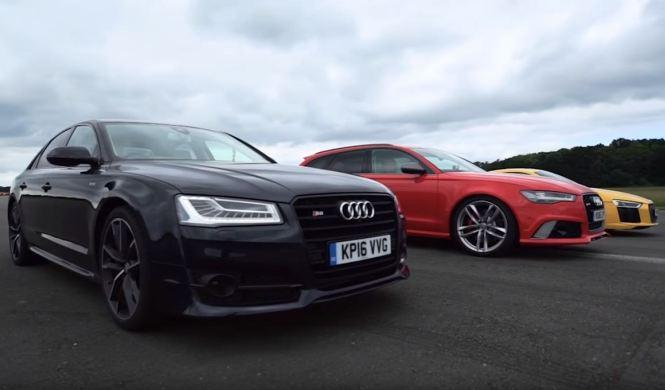 Vídeo: Audi R8 vs Audi RS6 vs Audi S8, ¡batalla interna!