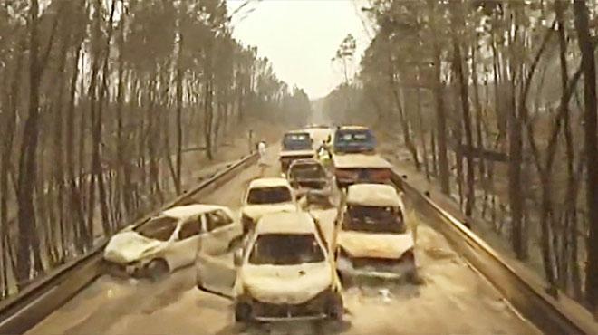 Incendio de Portugal: la carretera arrasada a vista de dron