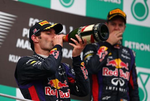 Mark Webber Sebastian Vettel podio GP Malasia 2013