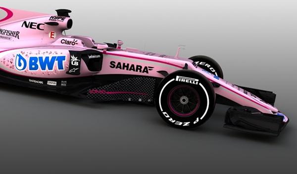 Nueva decoración para el Force India, ¡en color rosa!