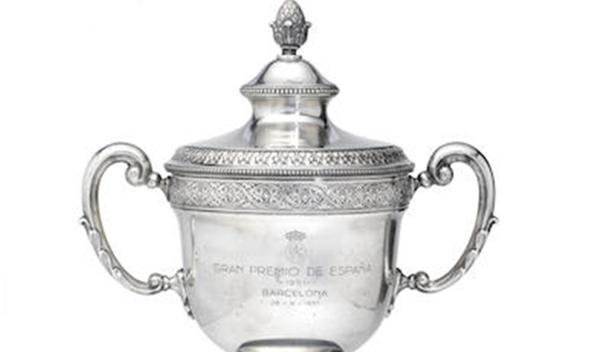 Sale a subasta el trofeo del GP España de 1951 de Fangio