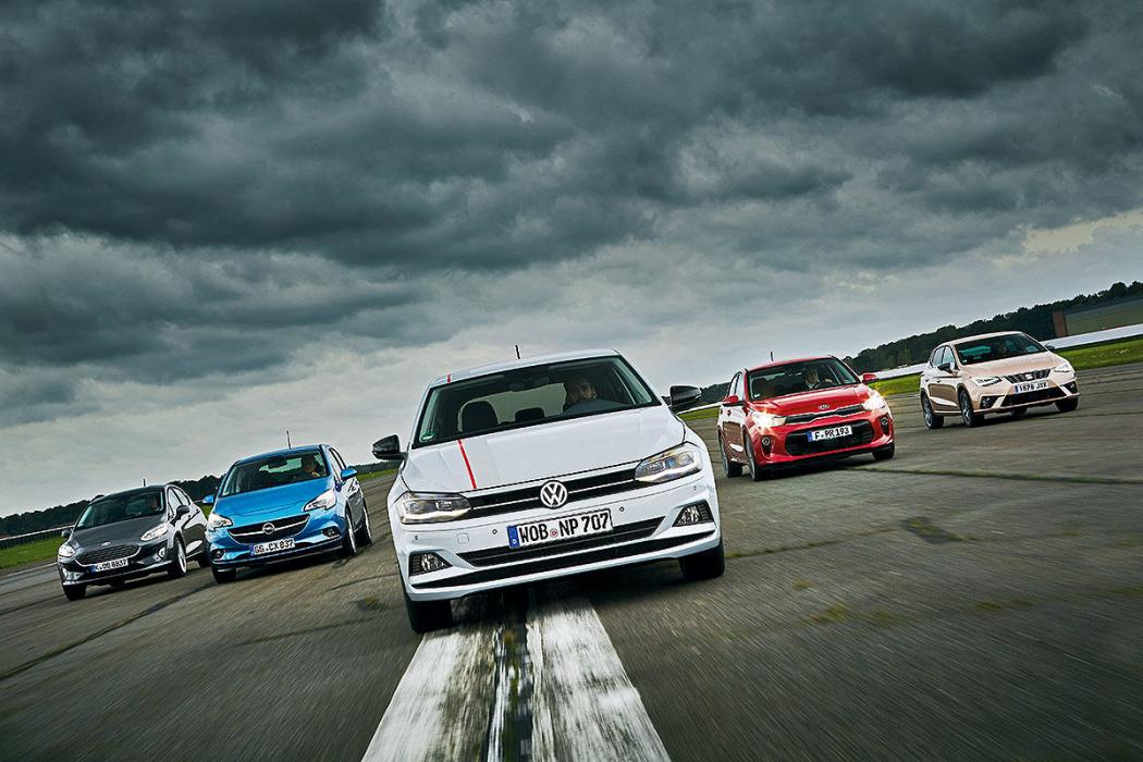 Comparativa del Volkswagen Polo vs Opel Corsa, Ford Fiesta, Seat Ibiza y Kia Rio.