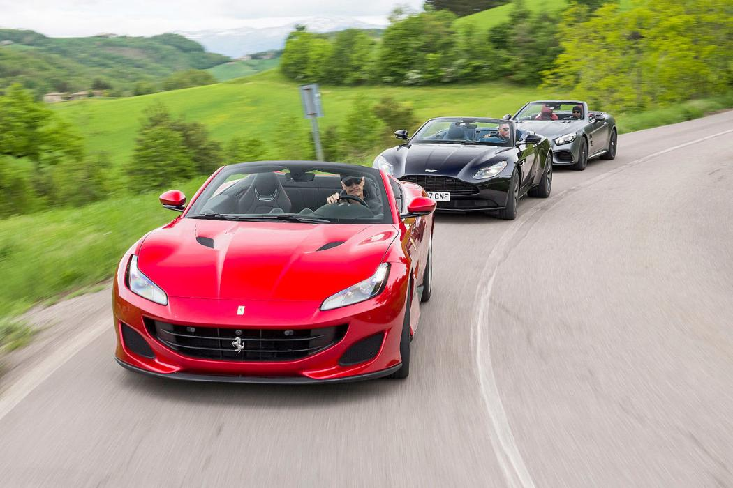 Ferrari Portofino vs Mercedes-AMG SL 63 y Aston Martin DB11 Volante